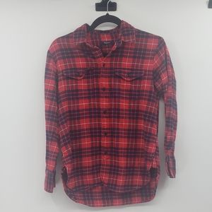 Madewell red and navy flannel button down top.